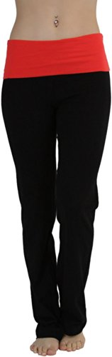 ToBeInStyle Women's Fold-Over Waistband Semi-Flare Leg Opening Yoga Pants Red