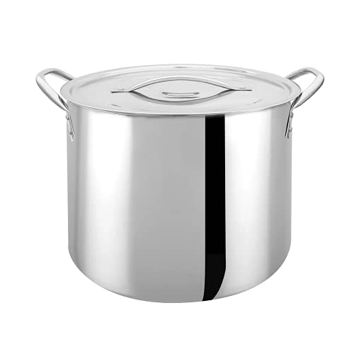 Bene Casa - Durable Stainless Steel Kettle with Lid and Handles (20 Quarts/5 Gallons) - Perfect Size for Extract Brewing - Dishwasher Safe