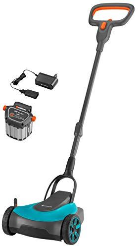 Set cortacésped de batería GARDENA HandyMower Li18/22 listo para usar, Cortacésped manual, ancho de corte 22cm, superficies hasta 50m², altura de corte 30-50mm, función mulching, batería 18V (5023-20)