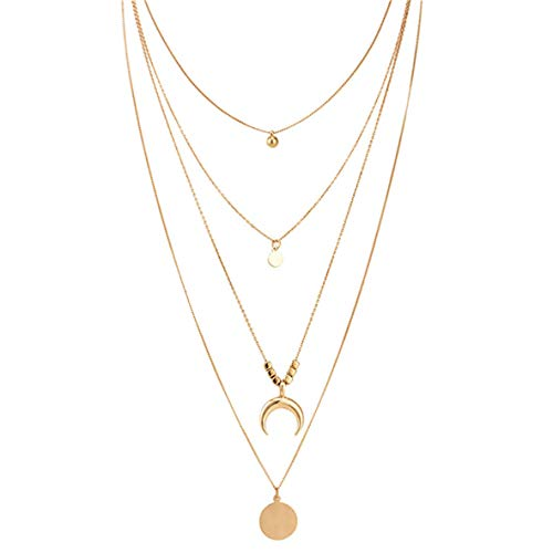 WERR Gold Four Layered Necklace for Women Bohemia Necklace with Moon Crescent Sun Disc Pendant Multilayer Chain for Women Delicate Necklace Chain Jewelry for Women and Girls