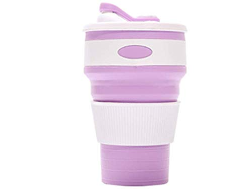 xjs Collapsible Silicone Cup Convenient Travel Coffee Mug Lids | BPA Free | Portable Folding Cup for Camping Hiking Outdoor (Purple)