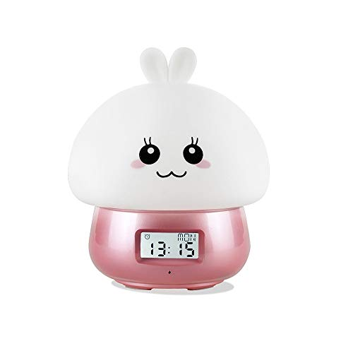 USB Despertador Infantil Niña Niños, Despertadores Analogico con Luz, Mesita De Noche Silencioso Sin Tictac Alumna Despertador De ,Pantalla De Temperatura