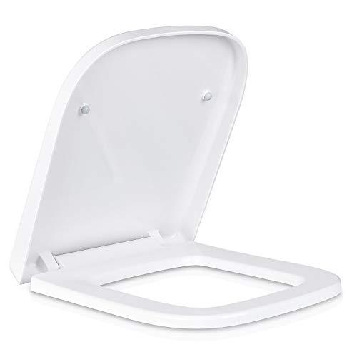 Homfa Toilettendeckel U-Form WC Sitz mit Absenkautomatik Toilettensitz aus Duroplast Antibakteriell Klodeckel Quick-Release Abnehmbar Klobrille Weiß