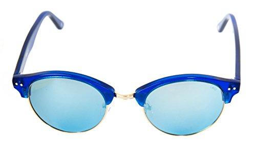 Lois - Flat BL Blue, Gafas de Sol Moda Unisex Pasta, Azul/Azul Espejo Polarizada unisex clubmaster polarizado Azul