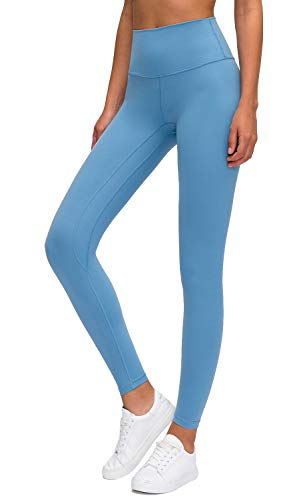 Lavento Women's Ankle Leggings High Waist Tummy Control Yoga Pants -  Blue -  Small