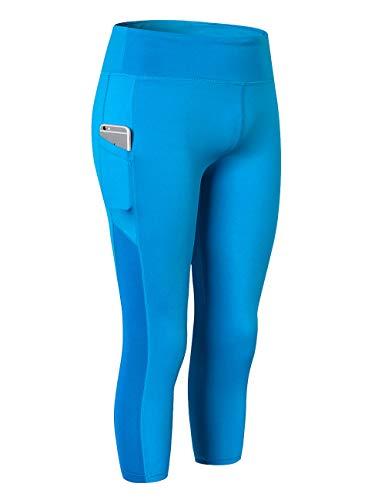 TOPTIE Pantalones de yoga con bolsillos, control de barriga, leggings capri para mujer