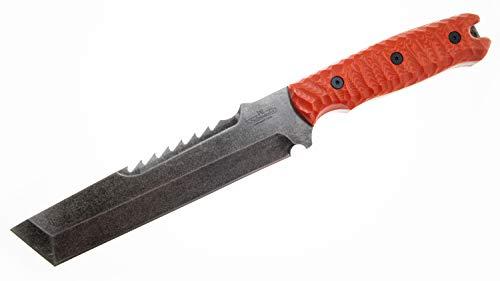 Breacher 2.0   SCHMIEDEGLUT   Robustes Outdoormesser   Survival & Bushcraft Tool   Einsatzmesser   Carbonstahl   feststehend I Micarta Orange Rockfinish