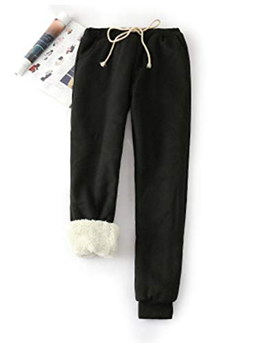 Yeokou Women's Warm Sherpa Lined Athletic Sweatpants Joggers Fleece Pants (X-Large, Black)