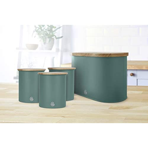 Swan Nordic Scandi Bread Bin with Bamboo Cutting Board Lid - Pine Green