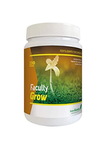 GreenFaculty - Grow - Fertilizante Abono Crecimiento para Plantas. Cultivo de Interior, Exterior, Tierra, Coco, hidropónico. NPK. Polvo Soluble Concentrado 500 g.