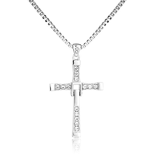 BODYA Jewelry Man Dominic Toretto Inspired Fast cz Zircon Crystal Cross Pendant Necklace Link Box Chain Cool Punk