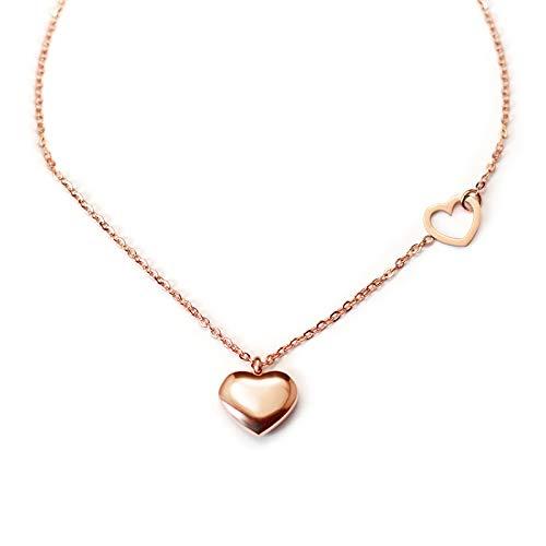 Mini Collar De Clavícula De Corazón De Melocotón Doble Chapado En Acero De Titanio 18k Joyería De Material De Preservación De Color Oro Real Oro rosa 40 + 5 CM