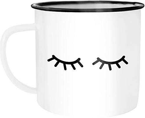 Autiga - Taza de café esmaltada, diseño de pestañas, esmalte metal, Pestañas blancas y negras, talla única