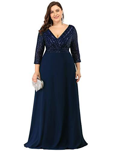Ever-Pretty Damen V-Ausschnitt Elegant A-Linie Pailletten Lange Ärmel Chiffon große Größe Abendkleid Navy Blau 52
