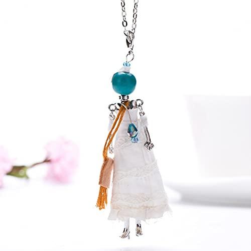 QiuYueShangMao Collar Colgante Blanco Largo Vestido de Princesa muñeca Pendiente Collar niña...