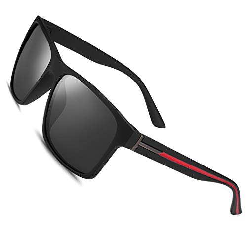 Polarized Sunglasses for Men Women Driving Fishing Mens Sunglasses Rectangular Vintage Sun Glasses Grey Lens/Matte Black Frame Red Strip
