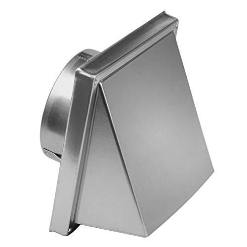 uyoyous Edelstahl Lufthaube, Ø-125 mm Lamellengitter Wetterschutzgitter Lüftungsgitter, Ablufthaube für Küche Dunstabzugshaube Lüftungsgitter - Silber