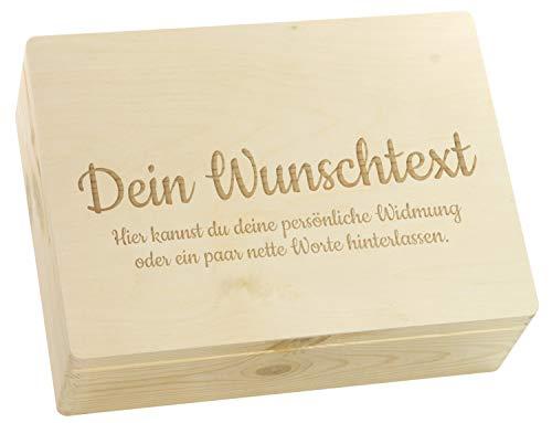 LAUBLUST Große Holzkiste - Personalisiert mit Individueller Wunsch-Gravur - 40x30x14cm, Natur, FSC® - Geschenk-Kiste   Aufbewahrungskiste   Erinnerungs-Box