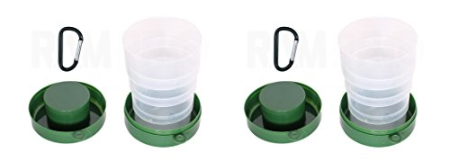 Collapsible Camping Cup 7 Ounce with Carabiner Hook Hunting Fishing RV Car Gym Travel