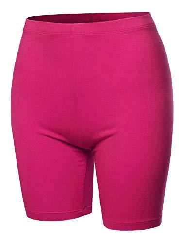 A2Y Basic Solid Cotton Mid Thigh High Rise Biker Bermuda Shorts Hot Pink XL