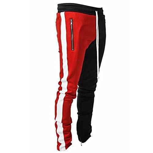 HOUXIAONI Pantalones Deportivos para Hombre Pantalones Casuales con Bolsillos, Gimnasio Fitness Corriendo Jogging atlético Desgaste de los Pantalones Red-L