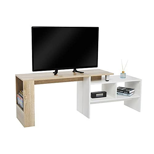 Meerveil - Meuble TV - Meuble Télé Extensible et Ajustable Bois Scandinaves pour Salon, 160 x35 x50 cm Blanc et Chêne