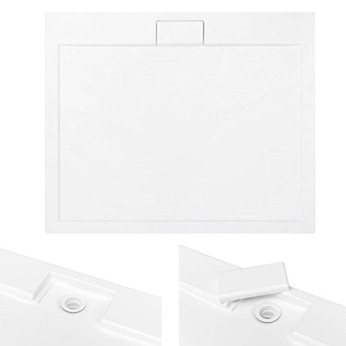 VBChome Duschwanne Duschtasse SUPERFLACH Rechteck 110 x 90 cm weiß glatt + Ablaufgarnitur Viega fi50 BAD SET Abdeckplatte Sanitär-Acryl