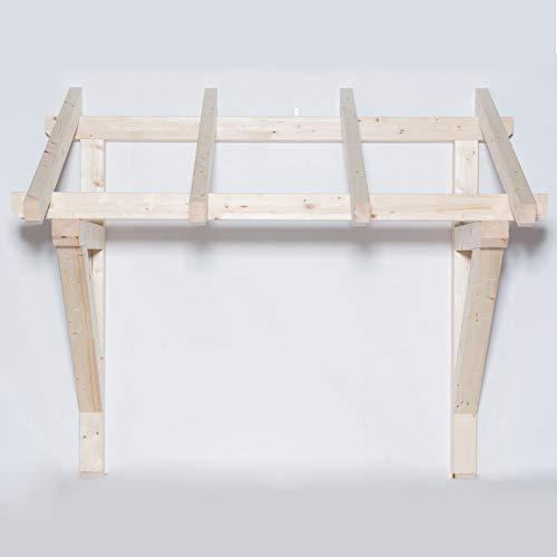 TUGA - Holztech Leimholz Balken 100x100mm Pultdach Haustürvordach Tür Haustür Überdachung Vordach Holz (Tiefe 145cm (Sparrenlänge), Breite Pfetten 150cm)