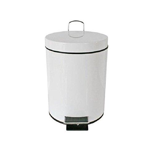 PEGANE Poubelle à pédale en métal 6L Coloris Blanc - Dim : 21 x 21 x 28,5 cm