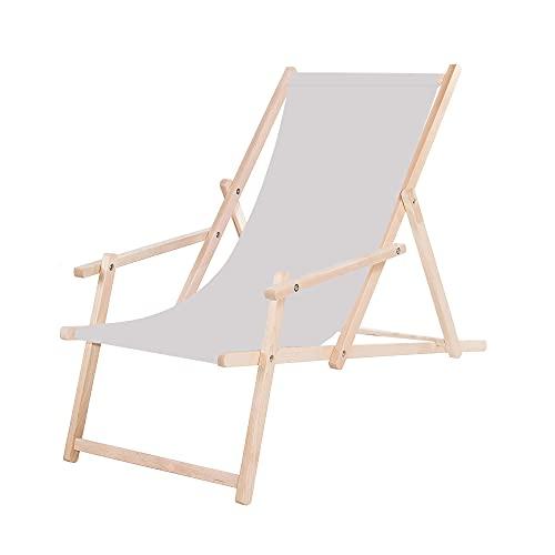 SPRINGOS Sedia a sdraio da giardino in legno con braccioli, pieghevole, per il tempo libero (grigio chiaro)