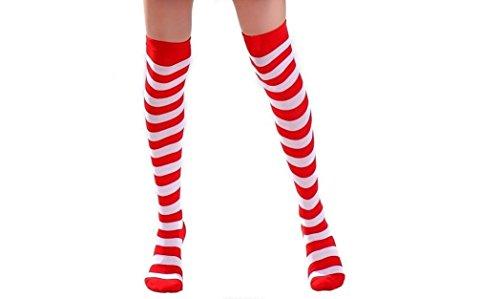 Sexy dames rood en wit streep over de knie ondoorzichtige kousen fancy jurk kip nacht kostuum clubwear kleding lingerie maat 6-12