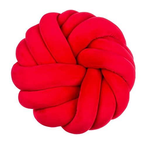 Cojín de nudo Almohada de bola anudada creativa Almohada de nudo redondo hecho a mano Almohada linda para abrazar para el hogar creativo Decoración de coche Decoración Habitación de cama rojo