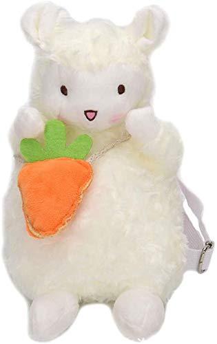 FGBV Cartoon Trendy Ins Lamm Puppe Plüschtier Spielzeug Puppe Rucksack Mädchen Münze Geldbörse Kosmetiktasche Kinder Rucksack Manmiao (Color : Carrot Section, Size : 24cm)