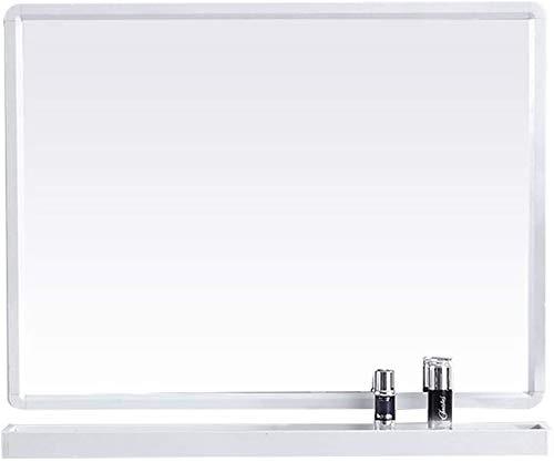 Espejo baño Espejos pared Espejo tocador Espejo recibidor Espejos rectangulares de Vidrio HD Wall Gran Espejo Decorativo Marco de Metal con Estante para tocador, baño de Dormitorio (Blanco),,70 x 50cm