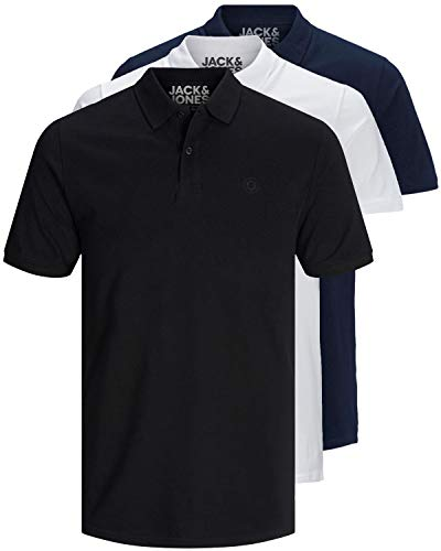 JACK & JONES 3er Pack Herren Poloshirt Slim Fit Kurzarm schwarz weiß blau grau XS S M L XL XXL 12171776 (L, 3er Pack Farb Mix 3)