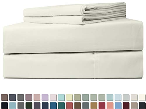 Five Elements 400-Thread-Count 100% Cotton Sheet Set Ivory Queen Size, 4-Piece Extra Long-Staple Luxury Hotel Best Bedding Bed Sheets, Soft & Silky Sateen, Fits Mattress Upto 18'' Deep Pocket