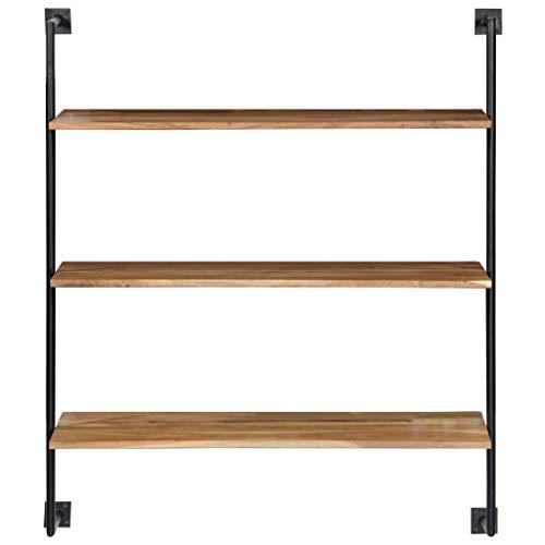 Tidyard Wandregal 94 x 35 x 113 cm Massivholz Akazie Solid Acacia Wood Wall Shelf with 3...
