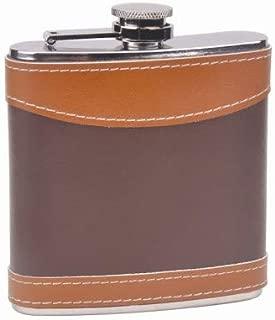 6oz 2-tone Leather Hip Flask, Custom Laser Engraved