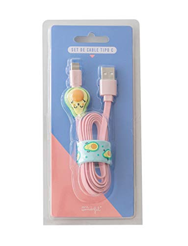 Mr. Wonderful - Set Cable Tipo C Aguacates. Incluye protecto