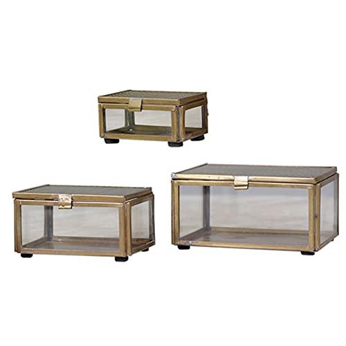 MACOSA CA64550 - Juego de 3 cajas para joyas, cristal, metal dorado, caja rectangular