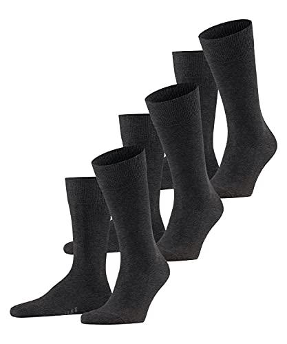 FALKE Herren Family 3-Pack M SO Socken, Grau (Anthracite Mel. 3080), 43-46 (UK 8.5-11 Ι US 9.5-12) (3er Pack)