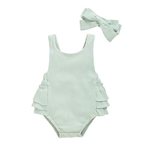 Julhold Babykleidung Set Baby Mädchen Kleidung Outfit 2-teiliges Ärmellose Rüschen Pit Strip Halfter Strampler Tasche Furz Kleid + Stirnband Sommer-Romper Bekleidung 3-18 Monate(Grün,90)