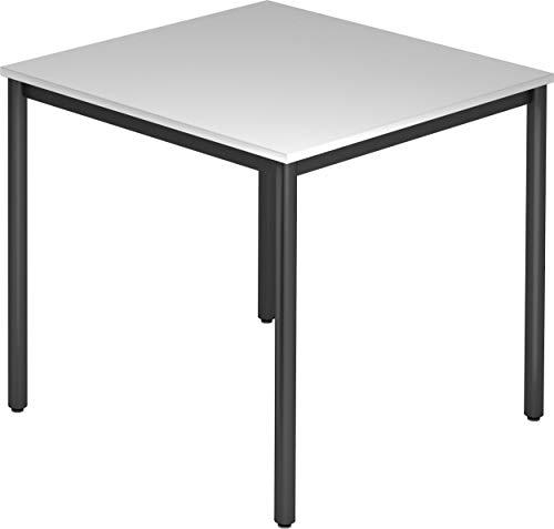 bümö® Tisch für Konferenzraum, Pausenraum, Warteraum od. Besprechungsraum | Konferenztisch System | Meetingtisch in 3 Dekoren & 8 Varianten (Tischfüße: Schwarz | Platte: Grau, Quadrat: 80x80 cm)
