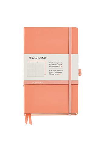 Miquel Rius - Cuaderno bonito de notas, cubierta rígida símil resistente, cierre goma, tamaño 130 x 210 mm, 192 páginas lisas de 80 g/m², color melocotón