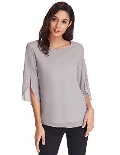 GRACE KARIN Womens Shirts Long Sleeve Layered Flowy Chiffon Blouses Round Neck Top Grey M