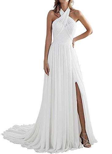 SongSurpriseMall avondjurk lang chiffon bruiloftsjurk elegante halterjurk bruidsjurk zonder rug
