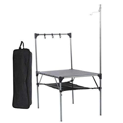 Mesa de Barbacoa al Aire Libre Mesa Plegable portátil Ultraligera con diseño de Bolsillo de Red de Almacenamiento para Acampar al Aire Libre, picnics(Splicing Table Lamp Rack Hanger)