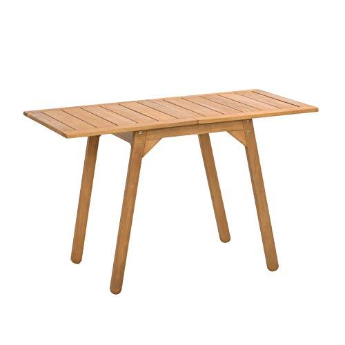 Ribelli Ausklappbarer Tisch aus Akazienholz - 120 x 74 x 60 cm - Gartentisch Esstisch Outdoortisch Terassentisch Tisch Holztisch