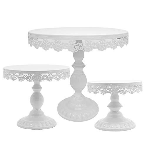 Juego de 3 soportes para tartas de boda de 8/10/30,48 cm, altura ajustable, accesorio para decoración de tartas (blanco)