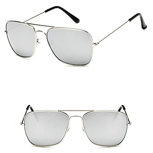 WQZYY&ASDCD Gafas de Sol Gafas De Sol Cuadradas Clásicas Gafas De Aviador para Hombres Y Mujeres Gafas De Sol con Lentes De Color Gafas Uv400-Plata